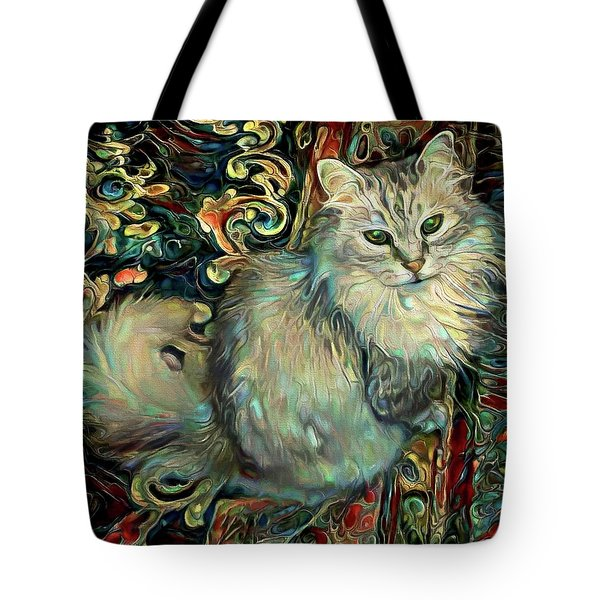Samson The Silver Maine Coon Cat Tote Bag
