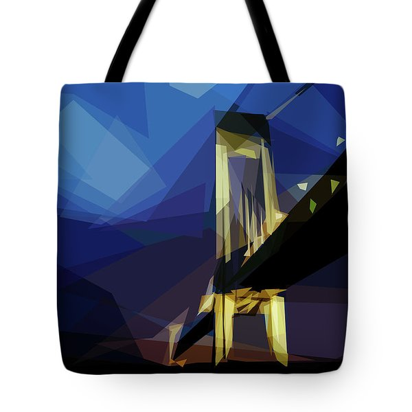 Tote Bag featuring the digital art San Francisco Bridge by ISAW Company