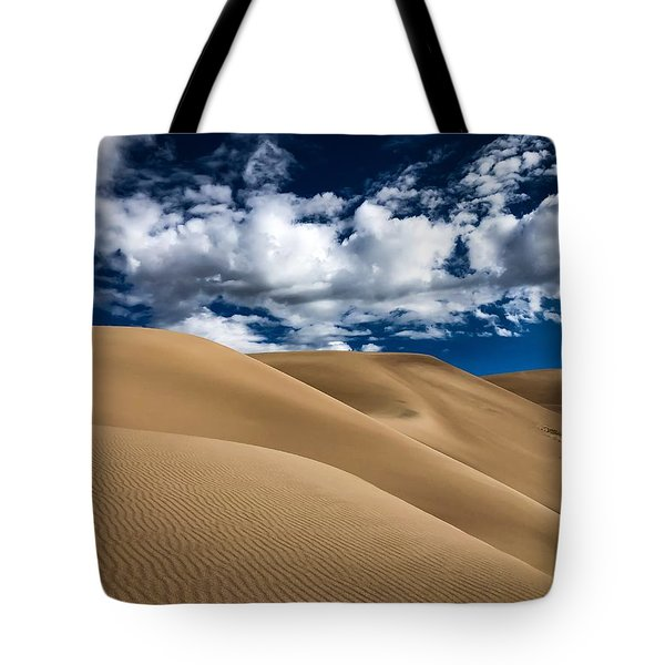 Sand Dunes Under A Blue Sky Tote Bag