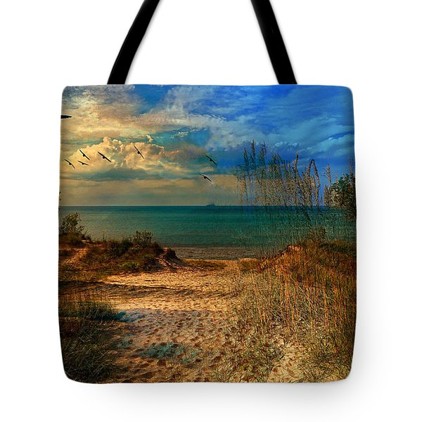 Sand Track To The Ocean At Dusk Tote Bag