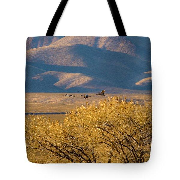 Sandhill Cranes Near The Bosque Tote Bag