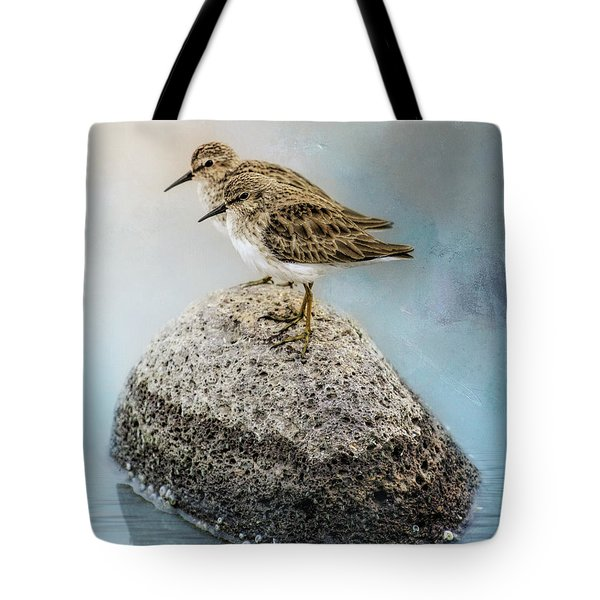 Sandpipers On A Rock Tote Bag