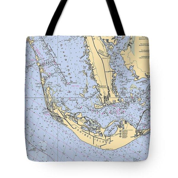 Sanibel And Captiva Islands Nautical Chart Tote Bag