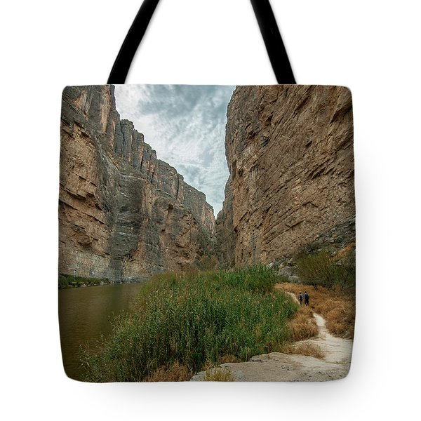 Tote Bag featuring the photograph Santa Elena Canyon Hikers by Matthew Irvin