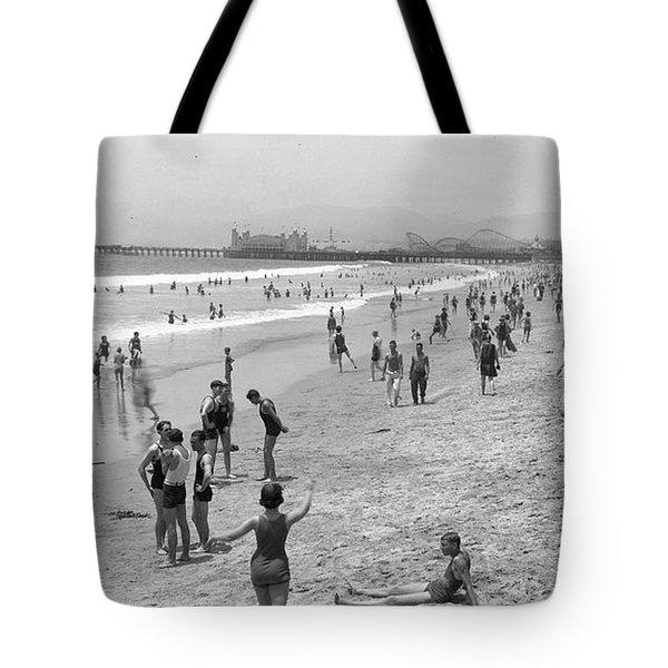 Santa Monica Beach Circa 1920 Tote Bag