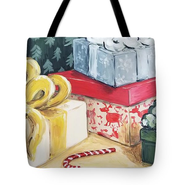 Tote Bag featuring the painting Santa Was Here by Maria Langgle