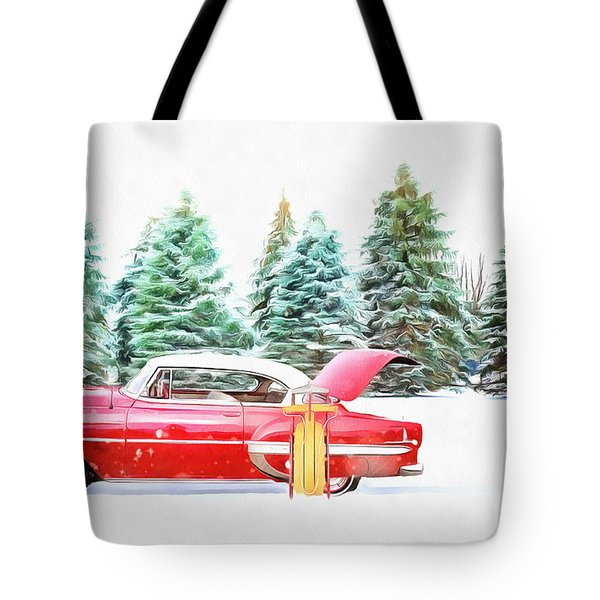Tote Bag featuring the painting Santa's Other Sleigh by Harry Warrick