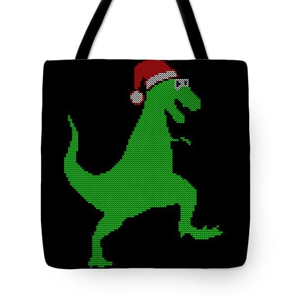 Santasaurus Ugly Christmas Sweater Tote Bag
