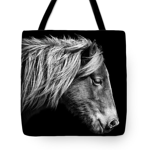 Tote Bag featuring the photograph Sarah's Sweat Tea Portrait In Black And White by Assateague Pony Photography
