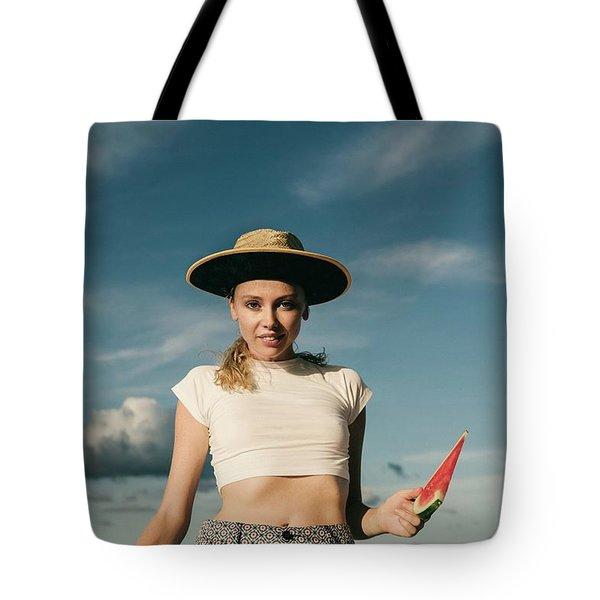 Sasha With Watermelon Tote Bag