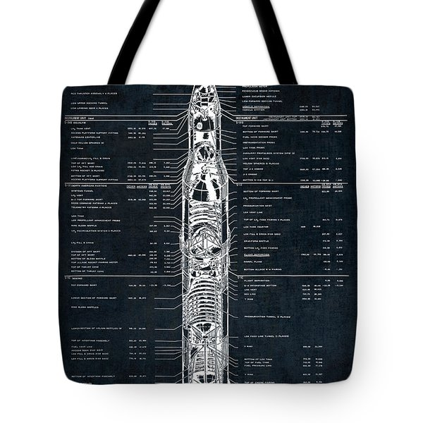 Saturn V Apollo Moon Mission Rocket Blueprint  1967 Tote Bag