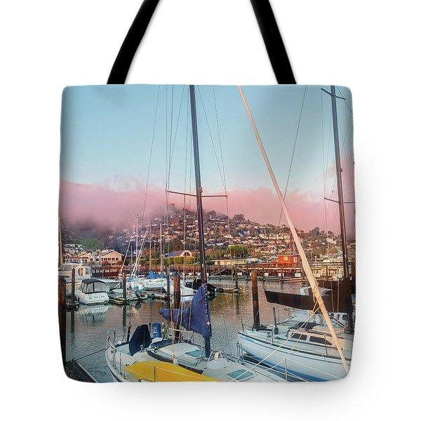 Sausalito California Pink Ribbon Morning Tote Bag