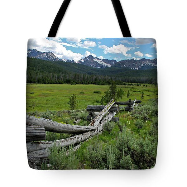 Sawtooth Range And 1975 Pole Fence Tote Bag