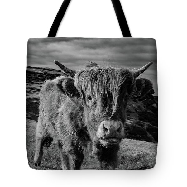Saying Hello To A Highland Cow At Baslow Edge Black And White Tote Bag