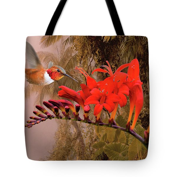 Scarlet Sage And Hummingbird Tote Bag