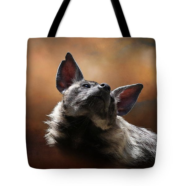 Tote Bag featuring the photograph Scenting The Air - Striped Hyena by Debi Dalio
