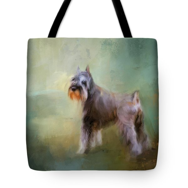 Tote Bag featuring the painting Schnauzer On Patrol by Jai Johnson