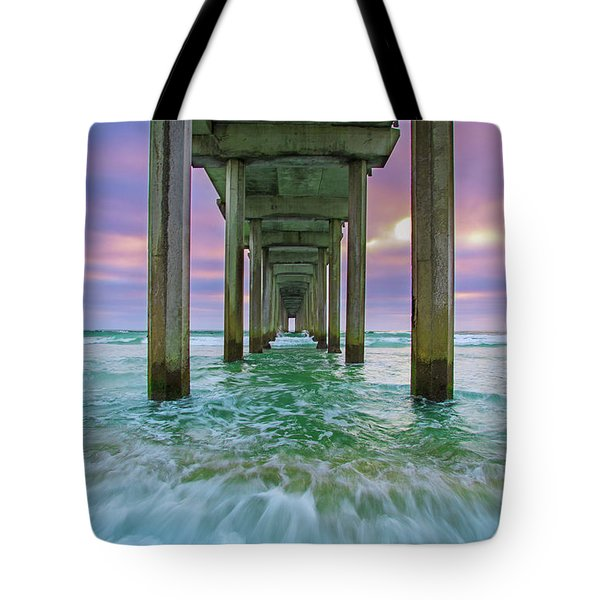 Scripps Pier Wave Tote Bag