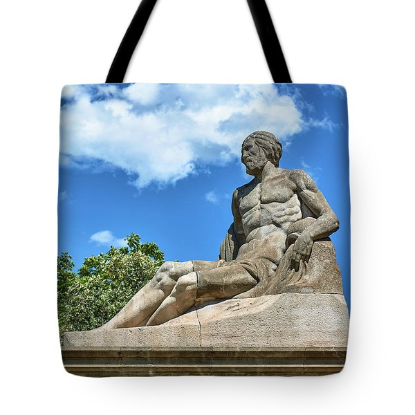 Tote Bag featuring the photograph Sculpture Of Gentleman On The Montjuic Hill In Spain by Eduardo Jose Accorinti