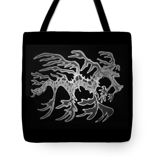 Sea Dragon Black And White Tote Bag