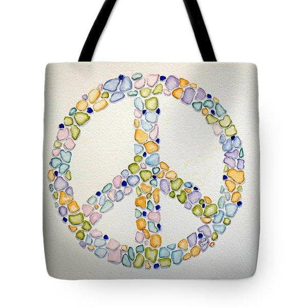 Sea Glass Peace Symbol Tote Bag