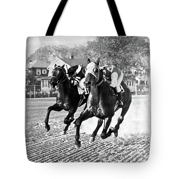 Seabiscuit Vs War Admiral, Match Of The Century, Pimlico, 1938 Tote Bag