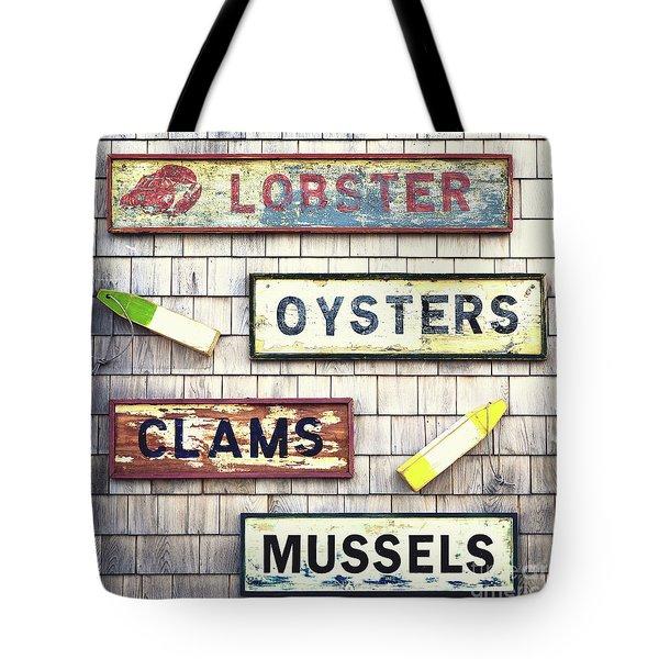 Seafood Signs Tote Bag