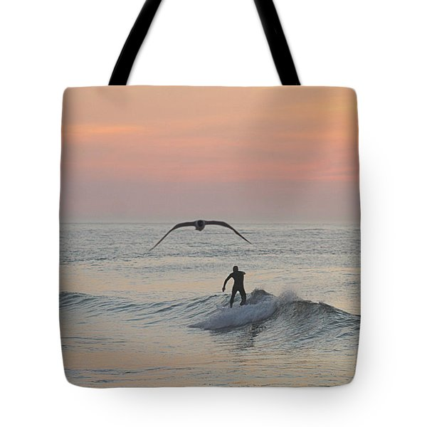 Seagull And A Surfer Tote Bag
