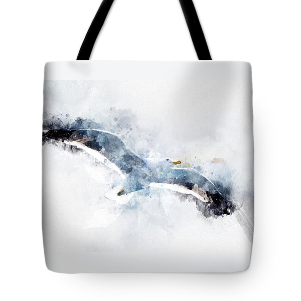 Seagull In Flight With Watercolor Effects Tote Bag
