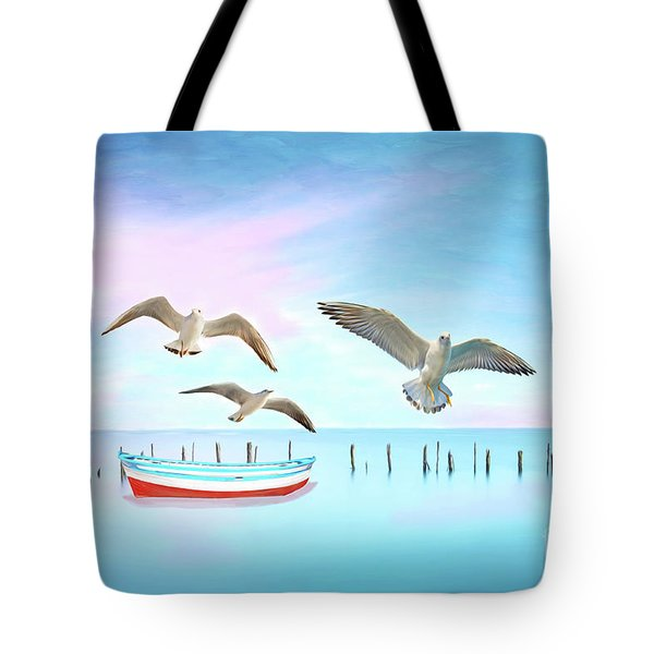 Seagulls And Boat Tote Bag