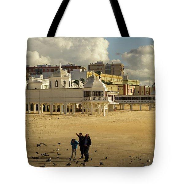 Tote Bag featuring the photograph Seagulls At Caleta Beach Cadiz Spain by Pablo Avanzini