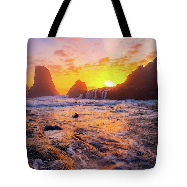 Seal Rock Beach Sunset Tote Bag
