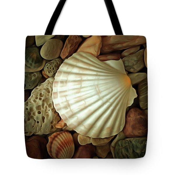 Seashell On Sea Pebbles Tote Bag