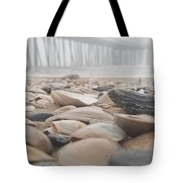 Tote Bag featuring the photograph Seashells At The Pier by Robert Banach