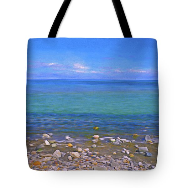Tote Bag featuring the mixed media Season Of Blue Water 4  by Lynda Lehmann