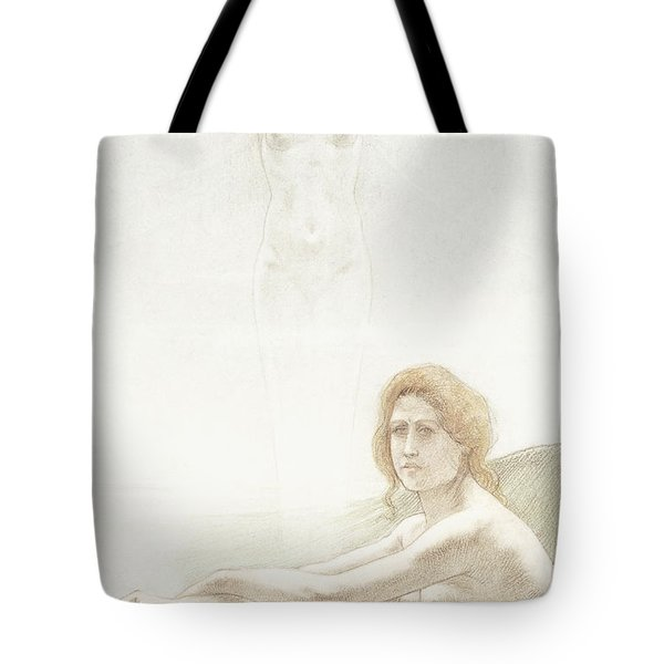 Seated Female Nude With Ghostly Female Figure In The Background, 1897 Tote Bag