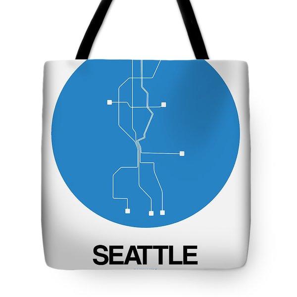 Seattle Blue Subway Map Tote Bag