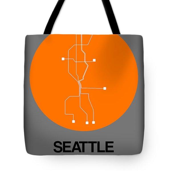 Seattle Orange Subway Map Tote Bag