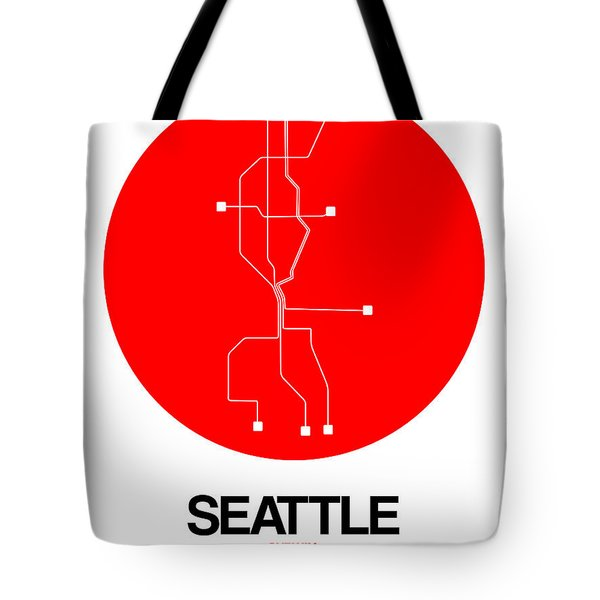 Seattle Red Subway Map Tote Bag