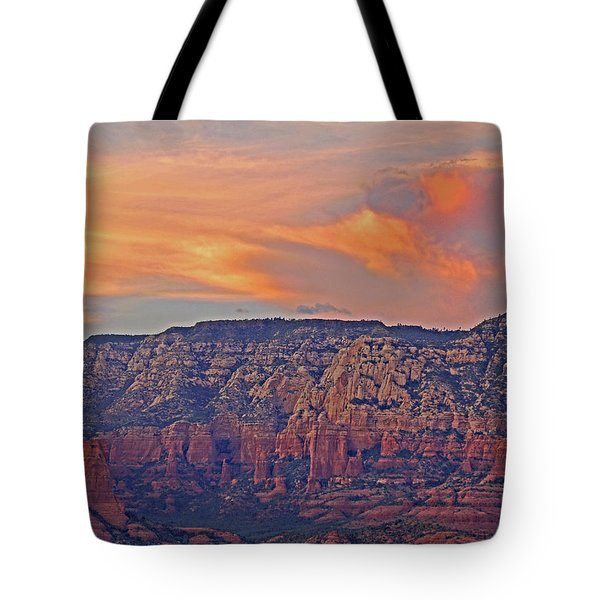 Tote Bag featuring the mixed media Sedona Dusk 5 by Lynda Lehmann