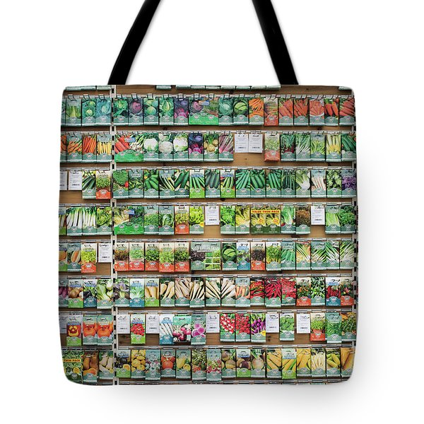Tote Bag featuring the photograph Seed Packet Dispaly by Tim Gainey