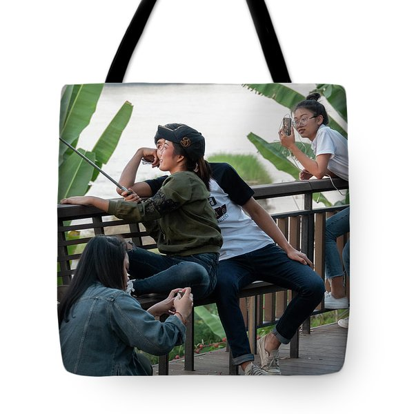 Tote Bag featuring the photograph Selfie Obsessed by Jeremy Holton