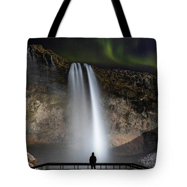 Seljalandsfoss Northern Lights Silhouette Tote Bag