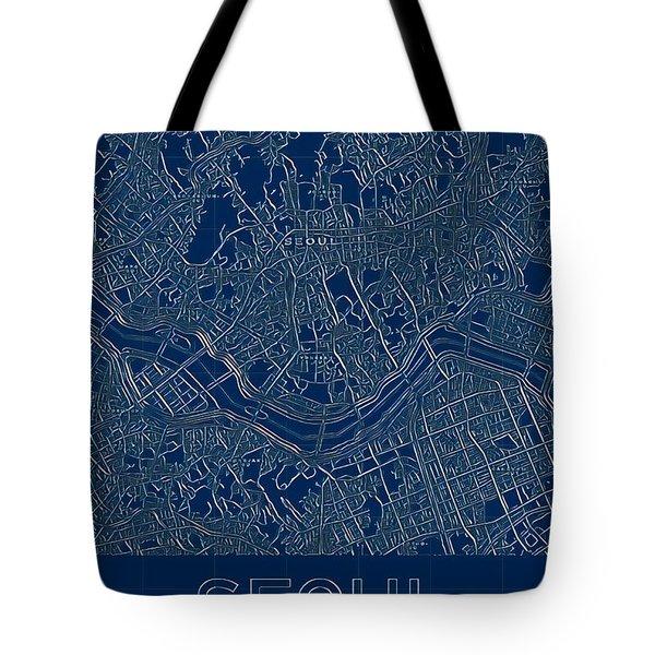 Seoul Blueprint City Map Tote Bag