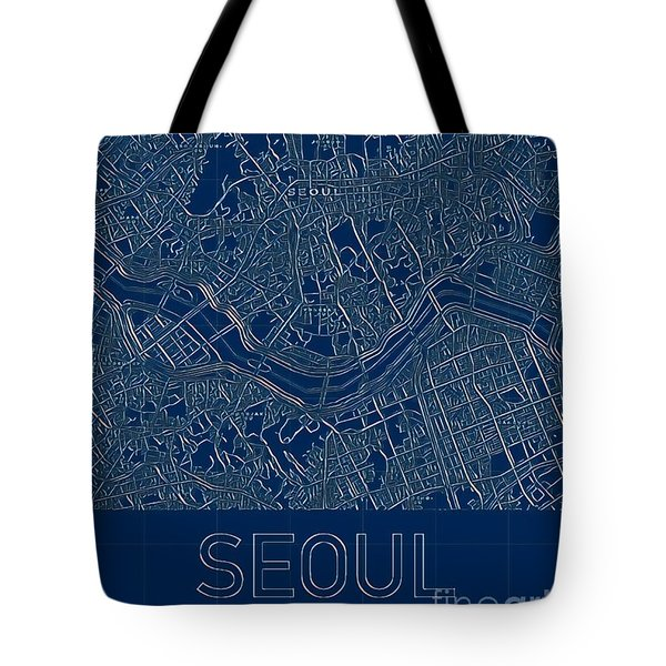 Tote Bag featuring the digital art Seoul Blueprint City Map by Helge