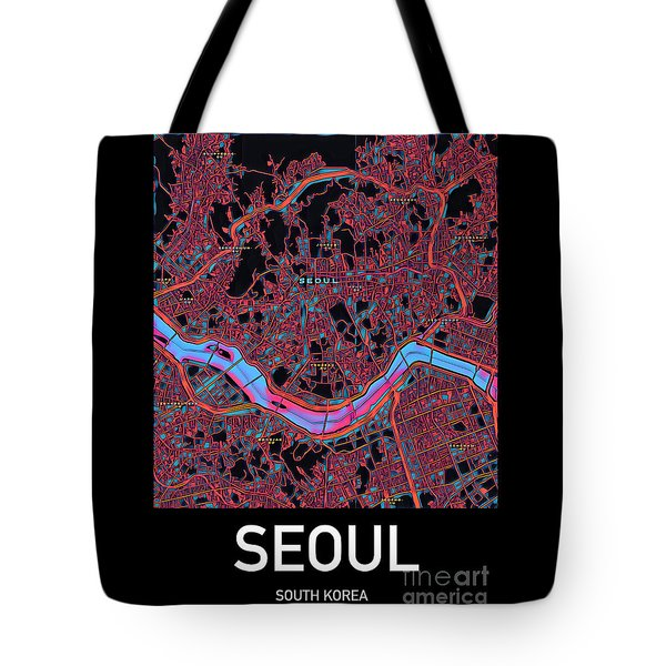 Tote Bag featuring the digital art Seoul City Map by Helge