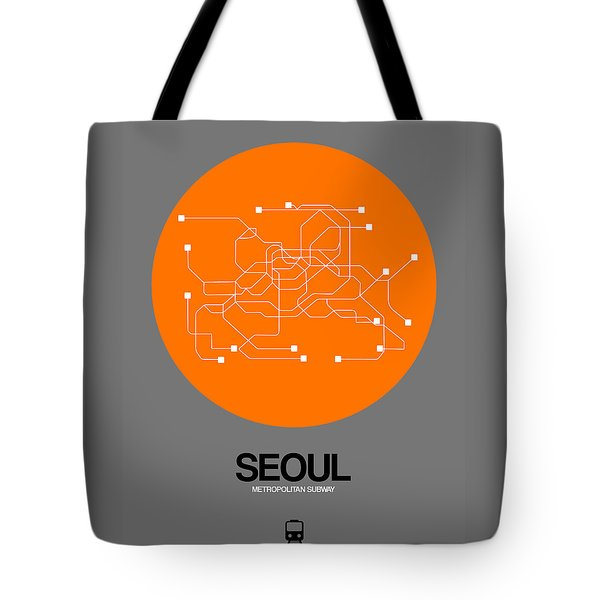 Seoul Orange Subway Map Tote Bag