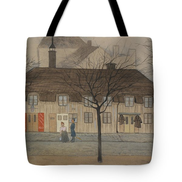 Tote Bag featuring the drawing Servant Girl And Policeman by Ivar Arosenius