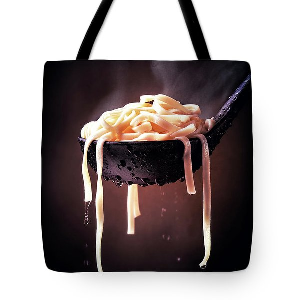 Serving Cooked Fettuccine Steaming Hot Tote Bag