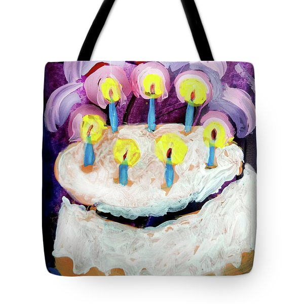 Seven Candle Birthday Cake Tote Bag
